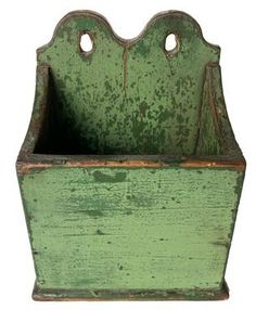 """Beautiful Double Tombstone Hanging Wall Box In Green Paint. New England, late 19th century Made of poplar Wood, iron brad construction Having double scroll cut tombstone back In worn old light green paint over original green Original have No cracks or repairs Age & usage wear 6-1/2"""" wide x 8-1/2"""" tall x 4-1/2"""" deep Country Treasures, Old Lights, Wall Boxes, Braided Rugs, Country Furniture, Antique Shops, Rug Hooking, New England, Stoneware"""