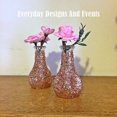 12 Small Bud Vases, Rose Gold Vases, Wedding Centerpieces, Rose Gold Centerpieces, Rose Gold Wedding, Wedding, Bridal Shower Decorations by EverydayDesignEvents on Etsy
