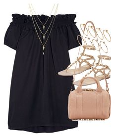 """Outfit with a black dress for summer"" by ferned ❤ liked on Polyvore featuring Clu, Valentino, ASOS and Alexander Wang"