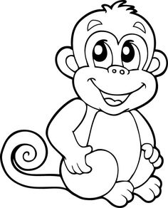Monkeys are cute animals and are loved by children. His funny behavior makes children happy and laughing. Because of that we share with you all the cute monkey coloring pages for our children. Monkey Coloring Pages, Easy Coloring Pages, Disney Coloring Pages, Animal Coloring Pages, Printable Coloring Pages, Coloring Pages For Kids, Coloring Books, Art Drawings For Kids, Drawing For Kids