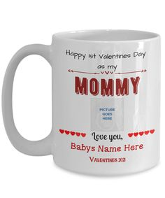 Personalized first Valentine Mom mug with your babys name and photo. Dad Valentine, Crop Photo, Dad Mug, Mugs For Men, Funny Coffee Mugs, Gifts For Dad, Dads, Love You, Mom
