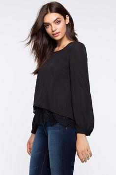 Блуза с кружевом Размеры: S, M, L Цвет: черный, кремовый Цена: 1326 руб.   #одежда #женщинам #блузы #коопт