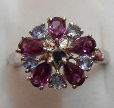 Uncut Amethyst Ring Tanzanite with garnet ring