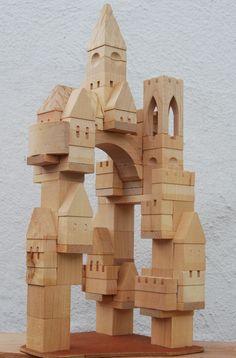 jouets en bois, grand château en bois modulable