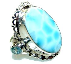 $98.25 California Style! Blue Larimar Sterling Silver Ring s. 11 at www.SilverRushStyle.com #ring #handmade #jewelry #silver #larimar