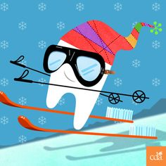 Have you ever seen a tooth on skis before? #dentistry #art