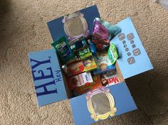 """""""Hey, hey good lookin'"""" deployment care package theme. Including: dried berries, hand sanitizer, floss picks, listerine strips, Clorox wipes, granola bars, air freshners, crackerful crackers, puzzle book, men's health magazine, a book."""