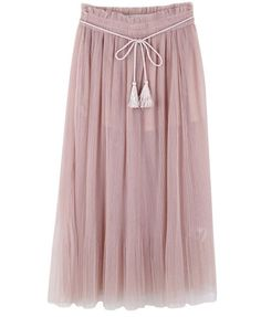 Pastel Pink Pleated Mesh Skirt with Drawstring Waist