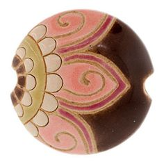 23mm Medium Pink Paisley Swirl Flower on Brown Lentil Bead by Golem Design Studio | Fusion Beads  4.49 get two