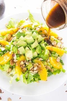 Orange Almond Salad with Avocado - the BEST favorite lunch salad! (paleo, gluten free, whole30, vegan)