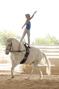 Equestrian vaulting, my daughter's current sport--this is a photo of her teammate