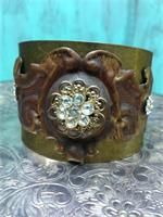 Renaissance Gypsy - jewelry  Antique gold cuff  embellished with vintage draw pull facing and vintage jewelry pieces