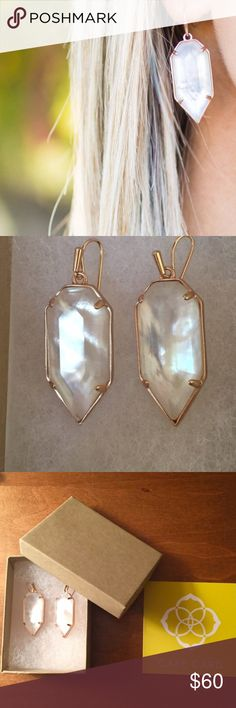 "Kendra Scott Palmer earrings NWOT! Kendra Scott ""Palmer"" earrings. Rose gold color.  Wire backs for pierced ears. Approx. 1.8""L x 0.6""W. Imported. Kendra Scott Jewelry Earrings"