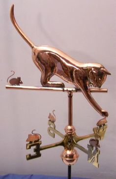 Beautiful Full Size Cat Copper And Brass Weathervane With Mount And All Parts