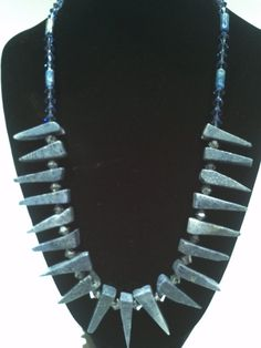 Blue Coral Denim Lapis with Swarovski Crystals by TrinityGio, $375.00