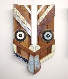 Mataora - Iwa Category: Wall Art Medium: acrylic on found wood Dimensions: Abstract Sculpture, Wood Sculpture, Bronze Sculpture, Metal Wall Art, Wood Art, Polynesian Art, Garden Wall Art, Maori Designs, New Zealand Art