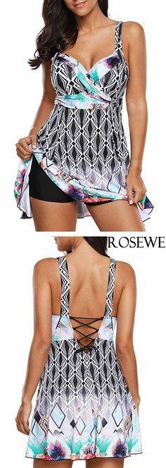 b013cdfbdb8 Printed Lace Up Back Swimdress and Shorts.#rosewe#swimwear#swimsuit  Γυναικεία Μαγιό