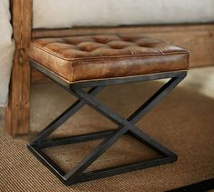 Kirkham Tufted Leather X-Base Stool | Pottery Barn... Something like this for base of bed?