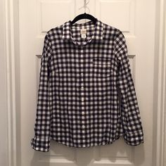 J.Crew Perfect Shirt Navy checker S In great condition.  Wear it casual with jeans or work it at work! J. Crew Tops Button Down Shirts