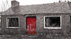Abandoned Building with Red door Black White Red, Red And Grey, Gray, Red Color, Color Pop, Colour, Tear Down, School Colors, Abandoned Buildings