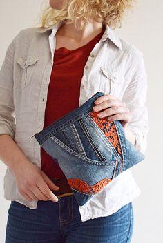Recycled Jeans Clutch Bag, Upcycled bag, Denim bag, Handbag, Pouch bag, Clutch bag, Denim bag, Cosmetic Bag, Essential bag, jeans bag
