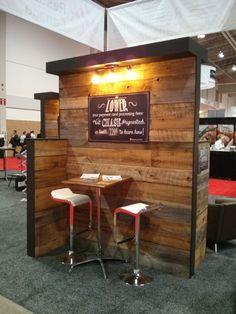 Trade show display area built by barnboardstore.com with reclaimed barn board