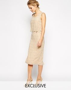 Frock and Frill Embellished Midi Shift Dress With Scallop Hem - Nude/silver/cream on shopstyle.co.uk