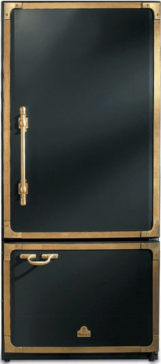 Amazing Refrigerator - black and brass detailing