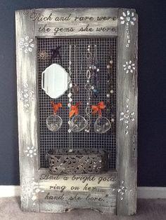 Upcycled Decor Window Frame Wall Hanging Jewelry Organizer Display