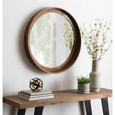 Shop Kate and Laurel Basking Wall Mirror with Shelf - Brown - Overstock - 26057195 - Diameter Brown Wall Mirrors, Wall Mirror With Shelf, Frames On Wall, Mirrors With Wooden Frames, Wall Mirror Ideas, Framed Wall, Round Wood Mirror, Beveled Mirror, Round Mirrors