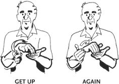 Get up again. Sign Language For Deaf, Sign Language Chart, Sign Language Phrases, Sign Language Alphabet, Alphabet Symbols, Language Study, American Sign Language, Body Language, Asl Signs