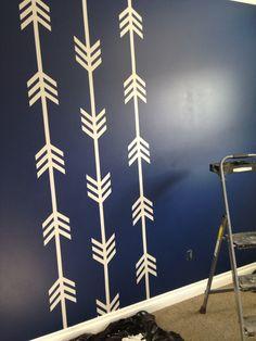 Arrow wall, nursery, navy, painted, frog tape, decor