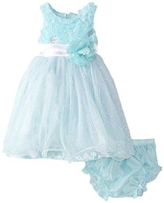 Nannette Baby Girls Dress Soutche Bodice and Sparkle Skirt with Panty Aqua 12 Months * See this great product. (This is an affiliate link) #BabyGirlDresses