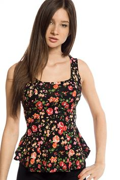 Flower Fashion Floral Print Sleeveless Peplum Top - Black from Finesse at Lucky 21