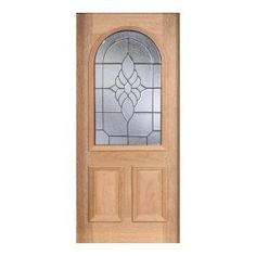 Main Door, Mahogany Type Unfinished Beveled Patina Roundtop Glass Solid Wood Entry Door Slab, SH-559-UNF-BPT at The Home Depot - Mobile