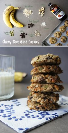 These healthy banana breakfast cookies are like a healthy granola bar in cookie form. The perfect sugar free vegan breakfast cookies. Healthy Cookies, Healthy Sweets, Healthy Baking, Cookies Vegan, Sugarless Cookies, Chocolate Cookies, Sugar Cookies, Banana Breakfast Cookie, Mexican Breakfast