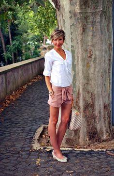 Camicia Plumeti, Shorts Cipria e Ballerine in pizzo