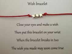 LITTLE STARS Friendship Wish Bracelet .. Complete with Wish Card .. Perfect thoughtful gift idea .. Choice of colours to choose from ..