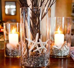 Candles are lovely and with beautiful candle holders they looks perfect. So, here are 15 beautiful DIY candle holders to get you inspiration. Beach Christmas, Coastal Christmas, Pillar Candle Holders, Pillar Candles, Blue Candles, Candleholders, Hurricane Candle, Jar Candle, Floating Candles