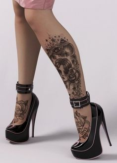 rockabilly pin up traditional tattoo's  love this so much i cant want to get one of my own inspired by this lovely look!