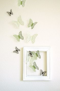 I love the colours of these butterflies ... so light.  I also love how the artwork is intertwined into the room
