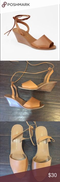 Like new Gap cognac wedges tie up ankle strap Beautiful shoes that go with everything – can be worn with shorts or jeans or a party dress. Beautiful leather top and easy to walk in wedge. Worn twice – fantastic  shape. GAP Shoes Wedges