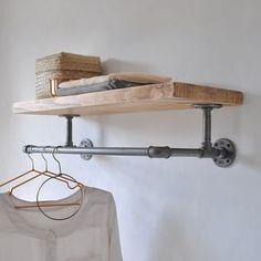 Are you interested in our industrial wooden storage shelf? With our steel pipe clothes rail you need look no further. Are you interested in our industrial wooden storage shelf? With our steel pipe clothes rail you need look no further. Laundry Room Organization, Laundry Room Design, Laundry Room Shelving, Bedroom Shelving, Organizing, Laundry Room Colors, Clothes Shelves, Pipe Clothes Rack, Wall Clothes Rail