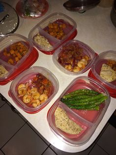 12/8-Day 7: phase 2: meal prep for the next 3 days. Total loss for the week is 7.9lbs!! I use Flavor God seasonings. The chipotle seasoning was used on the chicken..Everything Spicy on the shrimp..Garlic Lovers for the asparagus..Everything for onions & tomatoes. Sweet potatoes are Birds Eye Steamers