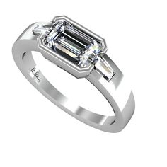 Olivia is our Emerald Cut Diamond with Baguettes Set in Platinum