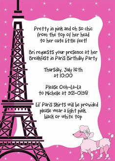 Love The Wording On The Invitations Paris Birthday Party - Invitation in french to birthday party