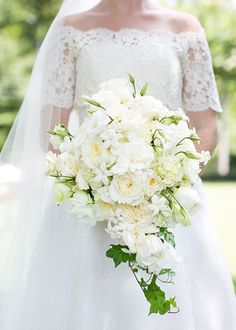 A Traditional Southern Wedding in Georgia, Cascading Bouquet with Roses and Ivy | Brides.com