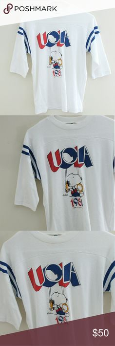 Vintage 80s UCLA top 3/4 sleeve top has small light stains on the front, hard to picture Vintage Tops