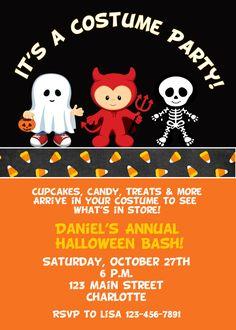Halloween Birthday Party Invitation DIY Printable Chevron Chic