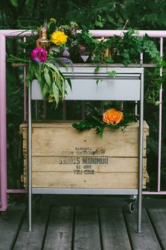 endless summer barcart with flowers and greenery